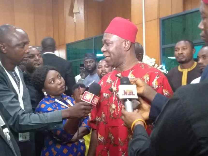 Ekweremadu addressing journalists after his loss to Senator Omo-Agege for the seat of Deputy Senate President