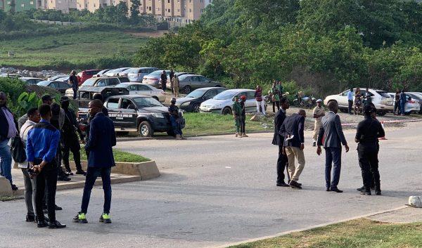 Security personel seen standing at COZA premises [Photo: Azeezat Adedigba]