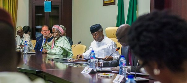 Imam Abdullahi Abubakar was received by Nigerian Vice President @ProfOsinbajo at @AsoRock today with #AmbSymington and a team from the Embassy. The Imam's selfless actions reflects his vision that all of us are brethren. The Imam embodies the ideal: #OutofManyOne