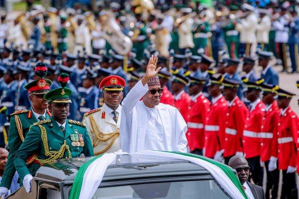 President Muhammadu Buhari at the Democracy Day celebration (Photo Credit: Bashir Ahmad on Twitter)