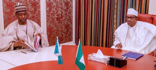 President Muhammadu Buhari with Governor Babagana Zulum