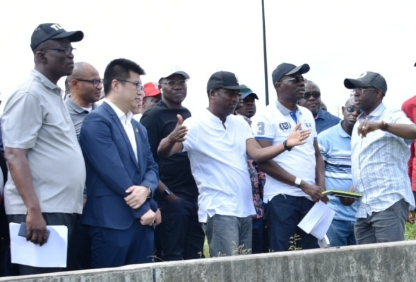 L-R: Permanent Secretary, Ministry of Works and Infrastructure, Engr. Olujimi Hotonu; Business Director, China Civil Engineering Construction Company Nigeria Ltd. (CCECC), Mr. Kevin Liu; Head of Service, Mr. Hakeem Muri-Okunola; Lagos State Deputy Governor, Dr. Obafemi Hamzat; Governor Babajide Sanwo-Olu during the Governor's inspection of the Lagos-Badagry Expressway on Sunday, June 2, 2019.