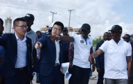 R-L: Lagos State Deputy Governor, Dr. Obafemi Hamzat; Governor Babajide Sanwo-Olu; Executive Director, China Civil Engineering Construction Company Nigeria Ltd. (CCECC), Mr. Bill Bian; Business Director, CCECC, Mr. Kevin Liu during the Governor's inspection of the Lagos-Badagry Expressway on Sunday, June 2, 2019.