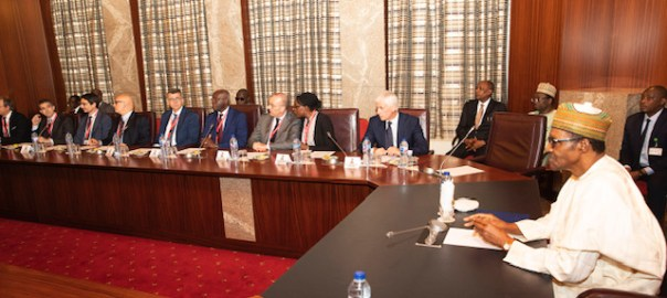 PRESIDENT BUHARI IN AUDIENCE FROM ITALIAN PARLIAMENT 7. R-L; President Muhammadu Buhari, Italian Ambassador to Nigeria, Dr. Stefano Pontesilli, Italian Parliamentary, Ms. Elena Okechukwu, Italian Parliamentary, Sen V.R Petrocelli, Senator T.C. Iwobi, Senator Manuel Vescovi, Dr Giovanni BaiocchiCEO-Vitali Group SPA, Mr. Christian Vitali, CEO Same Deutz-Fahr and Chairman-Nardi Group Mr. P. Gueriero during an audience with the Delegation held at the State House in Abuja. PHOTO; SUNDAY AGHAEZE. JUNE 10 2019.