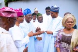 PRESIDENT BUHARI RECEIVES AFENIFERE 9. Immediate Past Deputy Governor, Osun State, Otunba (Mrs.) Grace Titilayo Laoye-Tomori, President Muhammadu Buhari, Former Oyo State Governor, Senator Abiola Ajimobi and others during the Visit of the Afenifere to congratulates him on his reelection for a 2nd term in office held at the Council Chamber, State House Abuja. PHOTO; SUNDAY AGHAEZE. JUNE 25 2019.