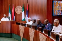 President Muhammadu Buhari in a meeting with APC Governors