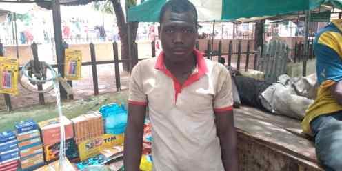 Hafizu Idris, motorcycle and bicycle spare parts seller, and TraderMoni beneficiary at Yan Tipper market Dutse, Jigawa state.