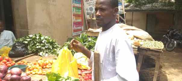 Sa'idu Ali, Vegetable seller, Tradermoni beneficiary at Yan Tipper market in Dutse, Jigawa State.