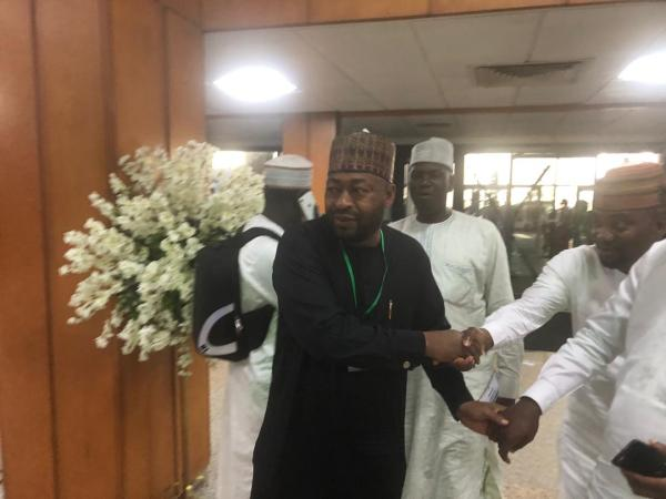 9:57am - Umar Bago, one of the fore runners for the office of the speaker arrives the National Assembly