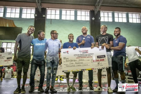 John Benjamin and Damilola Adeshina emerged as the top winners in the Lagos regional finals organised by Feet 'n' Tricks under the authority of World Freestyle Football Association.