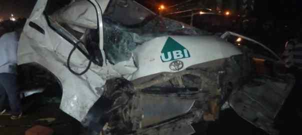 The scene of the car crash