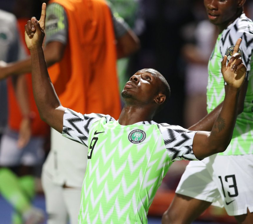 Ighalo celebrates his first 2019 AFCON Nations Cup goal [Photo: @CAF_Online ]