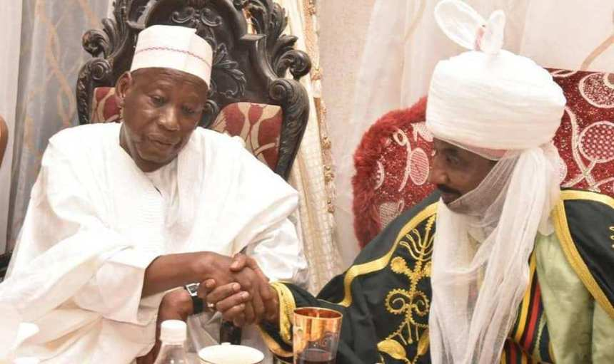 Gov. Abdullahi Ganduje of Kano State (Left) and the Emir of Kano, Muhammadu Sanusi ll [Photo: Thisdaylive]