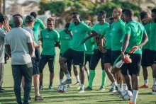 Super eagles training ahead of clash with Guinea.