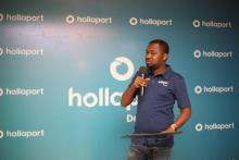 Hollaport Technologies CEO Kabiru Rabiu, at the unveiling of the Hollaport App.