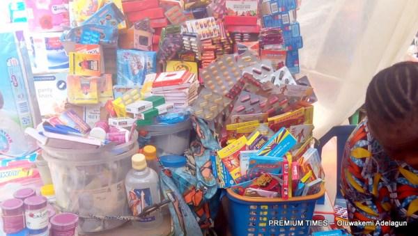 A roadside 'chemist' in Lagos Island