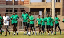 AFCON: Super Eagles training alongside its head coach, Gernot Rohr. [PHOTO CREDIT: Official Twitter handle of the Super Eagles.]