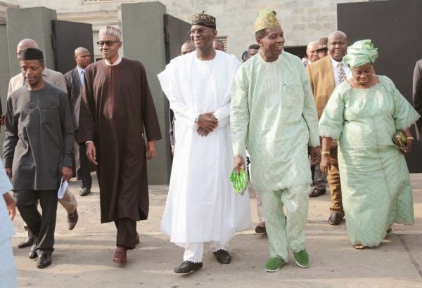 -L: Yemi Osinbajo, Muhamadu Buhari, Babatunde Fashola, Enoch Adeboye and wife