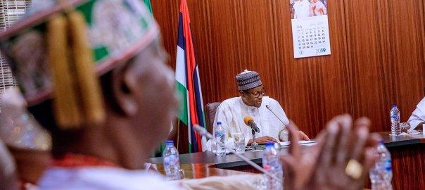 President Muhammadu Buhari with Southwest traditional rulers