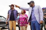 R-L: Lagos State Governor, Mr. Babajide Sanwo-Olu, making a point while the Secretary to the State Government, Mrs. Folashade Jaji and Head of Service, Mr. Hakeem Muri-Okunola, watch during an inspection tour of the Lekki-Admiralty Toll Plaza on Wednesday, July 10, 2019.