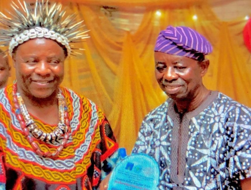 Tunde Kelani receiving the award from His Imperial Majesty Fuankem Achankeng I, -- The Nyatema of Atoabechied Ruler, Atoabechied, Lebialem Southwestern Cameroon