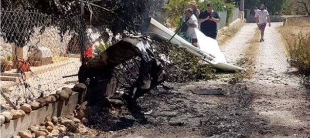 The wreckage of the plane landed on a road (Photo Credit: BBC)