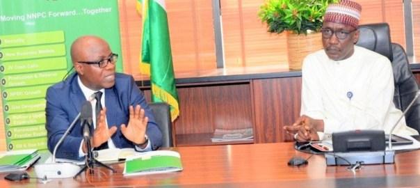 (L-R) The Executive Secretary of the Nigerian Extractive Industries Transparency Initiative (NEITI), Waziri Adio, with the NNPC GMD, Mele Kyari, in Abuja on Tuesday.