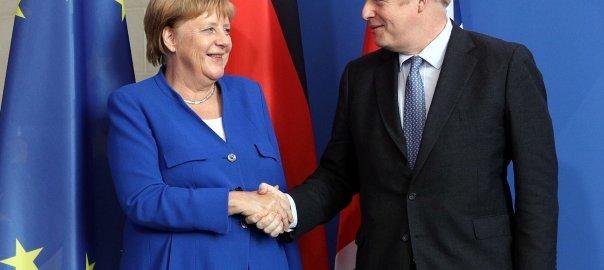 BREXIT: German Chancellor Angela Merkel and British Prime Minister Boris Johnson