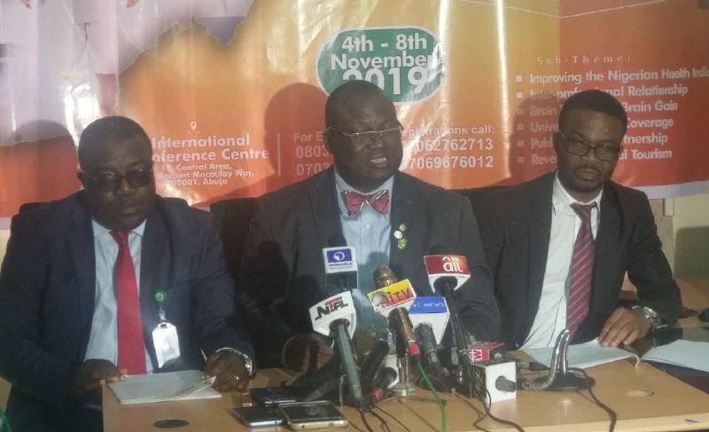 Nigeria Medical Association Executives address pressmen in Abuja ahead of its National Health Summit Photo credit: Owoseye Ayodamola