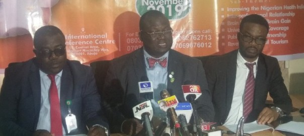 Nigeria Medical Association Executives address pressmen in Abuja ahead of its National Health Summit Photo credit: Owoseye Ayodamola