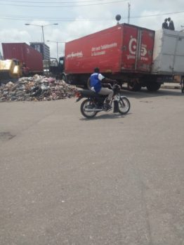 The Joint task force team working to enforce one lane parking policy for trucks from Lilipon, Ijora at the Port at Tin Can, Apapa