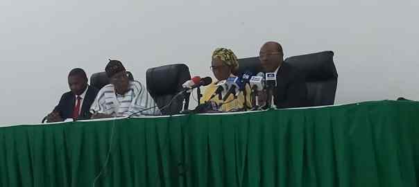 L-R (Malami, Lai Mohammed, Zainab Ahmed & Godwin Emefiele) at the briefing today