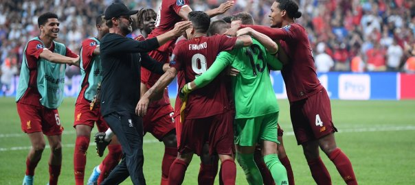 Liverpool FC celebrating Super Cup Victory against Chelsea