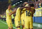 Villareal celebrating after a goal was scored, Chukwueze scored one of the goals (Photo Credit: La Liga on Twitter)