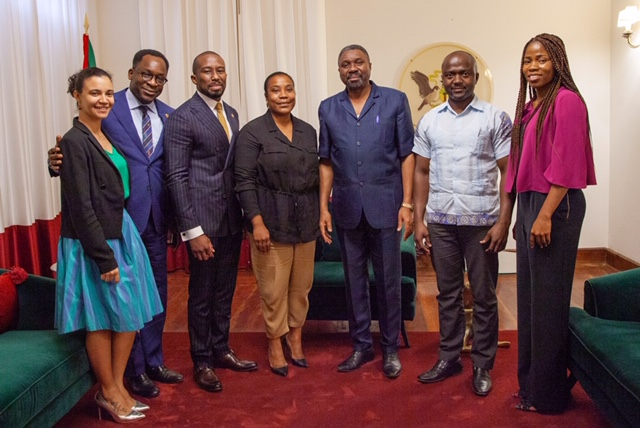 The Minister of Infrastructure, Natural Resources and Environment, Osvaldo Abreu, with the Oando team during the visit