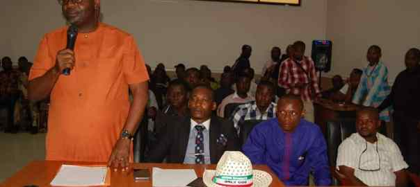 Mr Imoh Williams (standing), the suspended chairman of Abak Local Govt Area, Akwa Ibom State, giving his testimony before lawmakers
