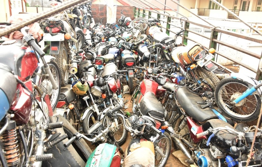 Truckload of motorcycles intercepted by the Lagos State Task Force on its entry into the State.