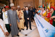 PRESIDENT BUHARI ARRIVED JAPAN FOR 7TH TICAD 2A&B. President Muhammadu Buhari accomapnied by the Nigerian Ambassador to Japan, Alhaji Mohammed Gana Yisa being received by Samuel Kim of International Youth Fellowship on arrival ahead of the 7th Tokyo International Conference on African Development (TICAD) in Japan. PHOTO; SUNDAY AGHAEZE. AUG 26 2019.