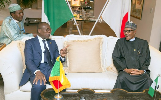 President Muhammadu Buhari with the President of Benin, H.E Patrice Talon during a side meeting at the 7th Tokyo International Conference on Africa Development (TICAD in Yokohama Japan. PHOTO; SUNDAY AGHAEZE. AUG 28 2019