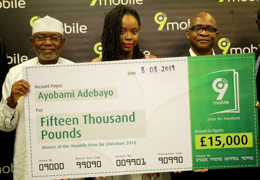 L-R: Executive Director, Regulatory and Corporate Affairs, 9mobile, Abdulrahman Ado; Winner, 2018 9mobile Prize for Literature, Ayobami Adebayo, and Chief Financial Officer, 9mobile, Phillips Oki at the prize presentation in Lagos on Thursday