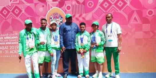 Nigerian weightlifter, Folashade Rafiatu Lawal and other members of Team Nigeria