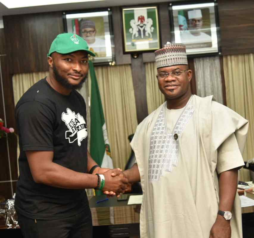 Governor Yahaya Bello while receiving Executive Director of Rural Electrification Fund, Dr Sanusi Ohiare in his office at the Lugard House in Lokoja on Thursday