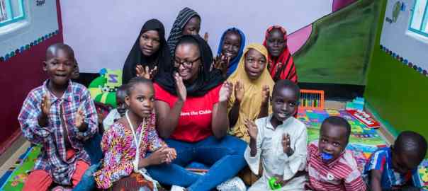 Miss Otedola and some children at the Save the Children stabilisation centre in Maiduguri Photo credit -Save the Children