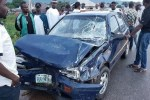 The car at the scene of the accident