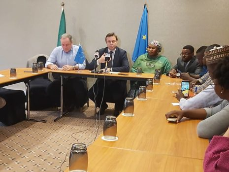 From L-R: The Sub-Sahara Africa portfolio lead and programme director for the ACT, British Council, Bob Arnot, the Head of the European Union Delegation to Nigeria and ECOWAS, Ketil Karisen; Research/Project consultant, Hafsat Mustafa and the National Programme Manager, Damilare Babalola.