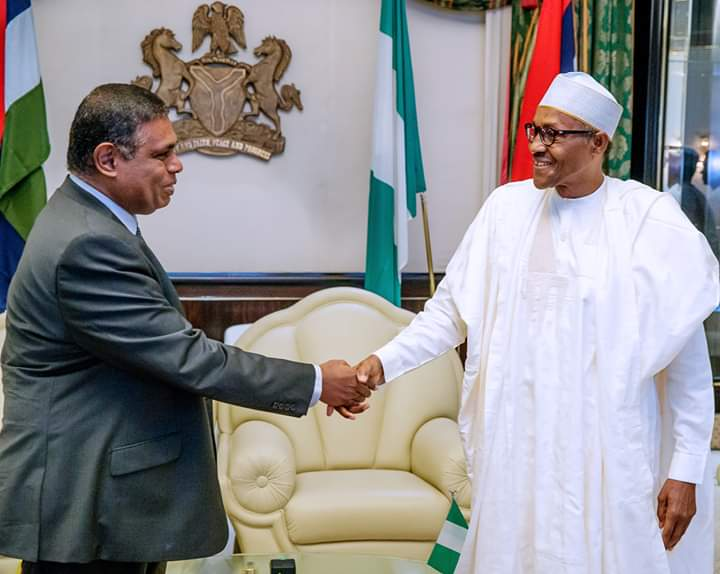 President Buhari with H.E. Dr Valeril Aleksandruk, Outgoing Ambassador of Ukraine to Nigeria as he receives him in farewell audience