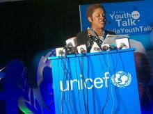 Chief of Education, UNICEF, Euphrates Efoise giving her speech