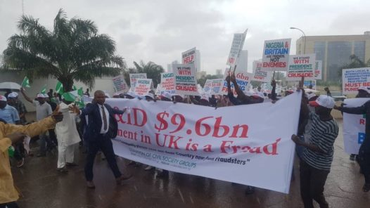 Protest in Abuja over $9 billion award against Nigeria by UK court. [PHOTO CREDIT: Sahara Reporters]