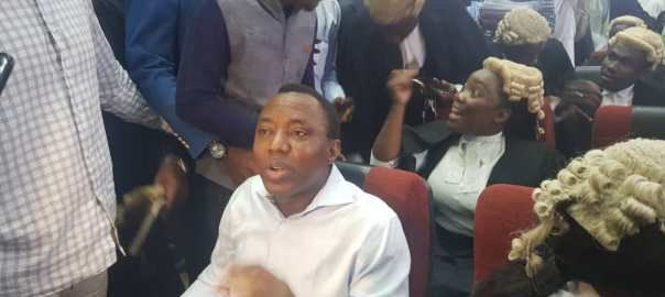 Omoyele Sowore in court [Photo: Sunnewonline]