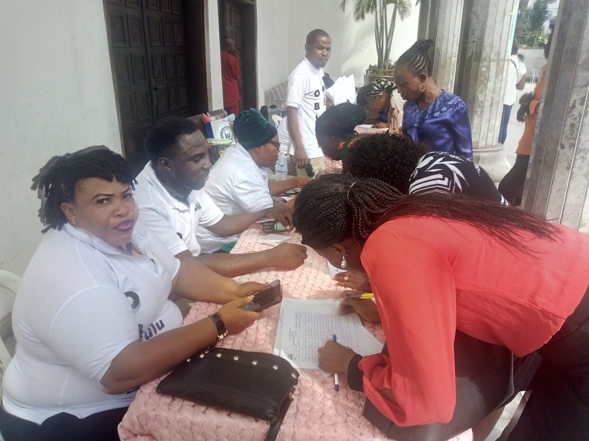 Officials of the OB Lulu-Briggs Foundation attending to women registering for the free fibroids surgeries for hundred women at the ongoing 18th anniversary celebration of the Foundation at the weekend